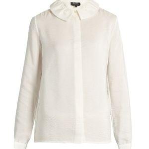 Tops - A.P.C. Aimee seersucker-silk blouse